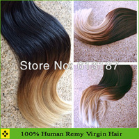 Fashion Pretty Straight #1b #27 T Color Hair Weft Brazilian Remy Human Hair 3pcs Free Shipping