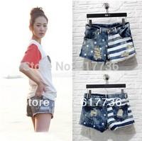 New ! 2014 Fashion Women USA Flag Flange Denim jean short vintage high waist Ladies Hole star Jeans Shorts S / M / L / XL
