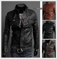 HOT! 2014 new men's leather jacket Korean catwalks shall Slim leather jacket PU high quality 3 color size:M L XL XXL