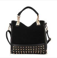 2014 New rivet patchwork shoulder handbags women bags designers handbags high quality messenger bag leather bags F2000
