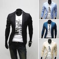 Free Shipping Fashion Mens Casual Slim Fit Jacket Blazer Short Coat one Button suit M L XL XXL