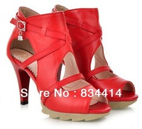 2014 New Summer Red Sexy Women pumps100% Genuine Leather high heels sandals Europe style Brand Woman shoes 2471
