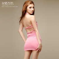Yarn 2014 spring sexy women one-piece dress fashion racerback V-neck slim hip skirt
