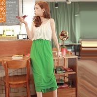 Yarn spring medium-long skirt fashion sexy women basic slim chiffon suspender skirt one-piece dress