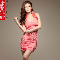 Yarn 2013 autumn women one-piece dress sexy V-neck racerback halter-neck slim hip short skirt