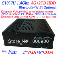 Wholesale mini gaming pc with 2 VGA 6 RS232 Intel Celeron 1037U dual-core processor 1.8Ghz 8G RAM 2TB HDD WiFi Bluetooth