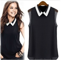 Hot sale 2014 women's chiffon shirt spring summer brand chiffon blouse shirt turn-down collar fashion sleeveless shirt WF-375