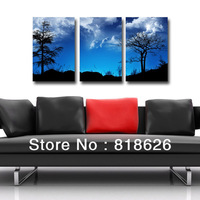 3 Pancel Bright Blue Sky Scenery Bedroom Living Room Canvas Wall Hanging Picture Modern Printed Painting Art Pt746