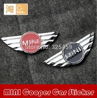 MINI car emblem sticker, Mini CooperS door mention mini wings sticker, 2 colors