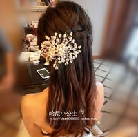 Free shipping wedding bridal white crystal bead pearl hair tuck combs bride hair stick fork clasp hairpin hair accessory