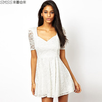 2014 fashion women's high waist back short-sleeve slim waist square collar lace one-piece dress