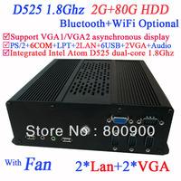 Mini compuer windows xp with 2*VGA 2*LAN 6*COM multi function NM10 Intel Atom D525 dual-core 1.8Ghz CPU included 2G RAM 80G HDD