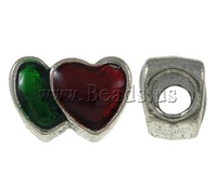 Free shipping!!!Zinc Alloy European Beads,fashion brand, Heart, antique silver color plated