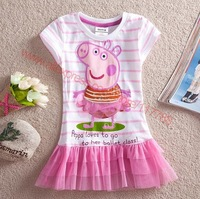 SQ164 Free shipping 5 pcs/lot new arrival girls tutu casual dress fashion girls' dresses babys peppa pig lace dress wholesale
