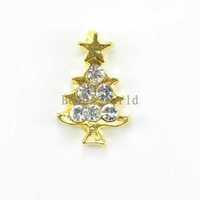 20 Pcs Alloy 3D Gold Plated Rhinestone Glitter Christmas Tree Nail Sticker For Nail Tips Art Decoration DIY 10x6mm(W02941 X 1)