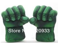 "Free Shipping 1set The Incredible Hulk Gloves 11"" Superhero Figure Toys Kids Children gift Hulk plush toys"