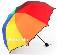 Free shipping Seven color rainbow umbrella arch creative falbala folding sunny & rainy umbrella  lovely princess umbrella