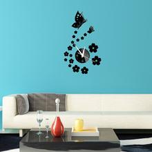 Butterfly Flowers Wall Clock Fashion modern Mirror Wall Clock Removable Acrylic Mirror Wall Decal Wall Sticker Decoration 1pcs(China (Mainland))
