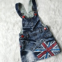 SQ166 Free shipping 4 PCS/Lot Children Overalls Girls' Summer Dress Kids British Flag Suspender Baby Denim Dress Wholesale