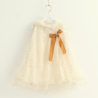 2014 children's spring clothing fur collar lace female child vest tulle dress