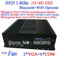 mini desktop pc with 2 VGA 6 COM Intel Atom D525 dual core 1.8Ghz 1G RAM 8G SSD Windows ubuntu 3G Module WiFi Bluetooth support