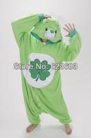 Adult Novelty Green Four-leaf Clover Lucky Care Bear hooded Fleece pajamas,Cartoon Cosplay Costume,Carnival party fancy Dress