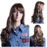 long blonde wig with a bang kanekalon european wigs 3294C
