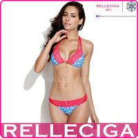 RELLECIGA 2014 Swallow Print + Red Lace Triangle Bikini Set Swimsuit with a Trio of Halter Straps and Brazilian Cut Scrunch Butt