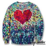 2014 New Fashion Women Men Punk  Glass Red Heart Display 3D Print Sweatshirts long sleeve Pullover  Free Shipping MM50016
