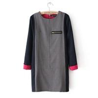 Free shipping! 2014 spring summer fashion ne arrival  women loose long-sleeve back zipper elegant office work dress A598