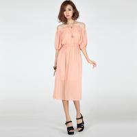 Plus Size New 2014 New arrival summer dress beach bohemian chiffon slit neckline strapless black casual women dress /611-1/5358