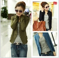 Hot Sell New 2014 Fashion Women Jacket Epaulet Long Sleeve Stand-up Collar Double Breasted Coat