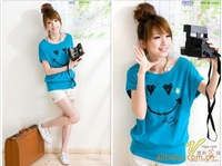 2014 new hot casual lady T shirt fashion women Tees smile heart print spring clothes Short Sleeve