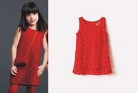 Boutique girl red dress  lace crochet sleeveless summer sundress baby girls dress children clothing
