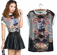CL1274 European Style Brand Diamond Mirror Printing Stripe All-match Cotton Lady T Shirt Spring Fall Women T-shirt Drop Shipping