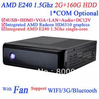 mini pcs AMD E240 1.5GHz Wake on LAN PXE support 2G RAM 160G HDD HDMI VGA AMD Radeon HD6310 graphics support 1080P HD screen