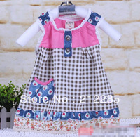 Free shipping! 2014 Summer Plaid Pattern Sleeveless Baby Girl Dress