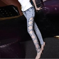Free shipping- New 2014 Mid waist sexy lady jeans with zipper fly pencil pants