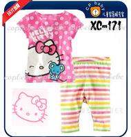 2014 summer Free Shipping Retail 1PCS Girl's hello kitty Pyjama Sets Short Sleeve pink dot T-shirts yellow stripe Shorts Suit