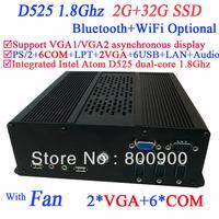 embedded intel mini pc with 2 VGA 6 COM Intel Atom D525 dual core 1.8Ghz 2G RAM 32G SSD Windows ubuntu 3G Module WiFi Bluetooth