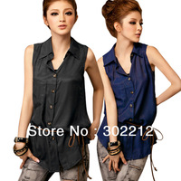 New Fashion Womens Ladies  Solid Casual  Sleeveless Slim Turn-down  with Belt BlousesT-Shirt