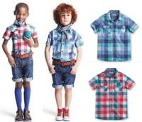 Boutique 2014 new boys shirts plaid shirt short sleeve baby boys shirts 3-14 years children clothing