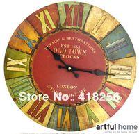 Free shipping European retro wall clock wooden clock muted fashion creative living room wall clock watch England