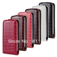 100pcs/lot Fashion Crocodile Leather case Flip Cover case for Apple iPhone 5S 5G