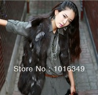 HOT!new arrive 2014 real Silver fox Vest warm winter nature color XL Long section women genuine leather fur coat/jacket