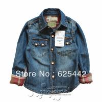 New Spring 2014 High Quality Denim Patchwork Soft Brand Top Children T Shirts Boys Shirts Shirt for Boy Baby Free Shipping A34
