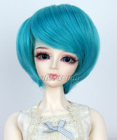 Free Shipping 1/3 Bjd wig BJD SD DD LUTS Doll Dollfie short straight bluish green color cute toy wig