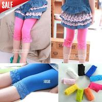 10pcs/lot 2014 Hot sale girl summer velvet lace leggings kids candy color leggings short tights10 colors For 4-12 years