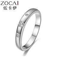 ZOCAI BRAND NATURAL REAL GENUINE 0.09 CT CERTIFIED I-J / SI DIAMOND ENGAGEMENT WEDDING RING ROUND CUT 18K WHITE GOLD W04099
