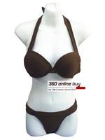 Women's Quality Coffee Halter Neck Pillowtop Ruched Sexy Swimwear Bikini Set Swimsuit Ladies' Swim Wear Cheap Biquines For Women
